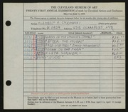 Entry card for Cykowski, Clement Allen for the 1939 May Show.