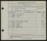 Entry card for Cykowski, George C. for the 1939 May Show.