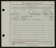Entry card for Daw, William for the 1939 May Show.