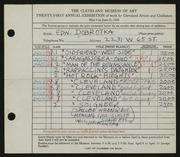 Entry card for Dobrotka, Edward W. for the 1939 May Show.