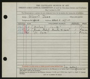 Entry card for Dome, Gilbert for the 1939 May Show.