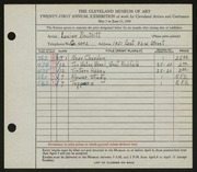 Entry card for Douthitt, Louise for the 1939 May Show.