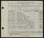 Entry card for Dueringer, W. for the 1939 May Show.