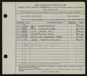 Entry card for Dyer, Nora E. for the 1939 May Show.