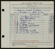 Entry card for Eastman, William Joseph for the 1939 May Show.