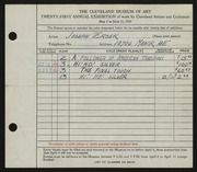 Entry card for Ersek, Joseph Francis for the 1939 May Show.