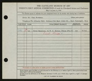 Entry card for Eschmann, Jean C. for the 1939 May Show.