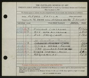 Entry card for Faticia, Alfred John for the 1939 May Show.