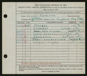 Entry card for Ferster, Louise for the 1939 May Show.