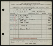 Entry card for Firth, Karl Warren for the 1939 May Show.