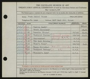 Entry card for Fousek, Frank Daniel for the 1939 May Show.