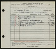 Entry card for Fox, Thomas F. for the 1939 May Show.