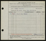 Entry card for Freedson, Joseph for the 1939 May Show.