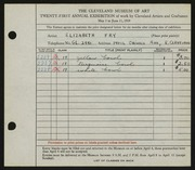 Entry card for Fry, Elizabeth for the 1939 May Show.
