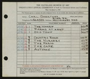 Entry card for Gaertner, Carl Frederick for the 1939 May Show.