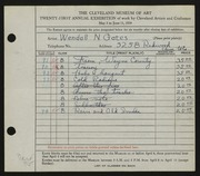 Entry card for Gates, Wendall N. for the 1939 May Show.