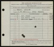Entry card for Geisler, Frederic William for the 1939 May Show.