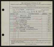 Entry card for Gerzso, Gunther for the 1939 May Show.