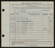 Entry card for Gilbert, Lois for the 1939 May Show.