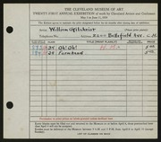 Entry card for Gilchrist, William for the 1939 May Show.