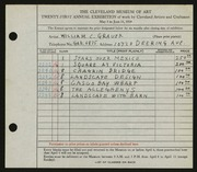 Entry card for Grauer, William C. for the 1939 May Show.