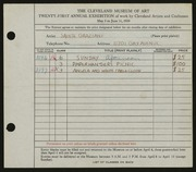 Entry card for Graziani, Sante for the 1939 May Show.