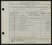 Entry card for Grebenak, Louis Arthur for the 1939 May Show.