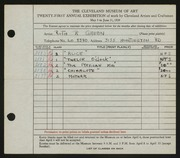 Entry card for Green, Ruth R. for the 1939 May Show.