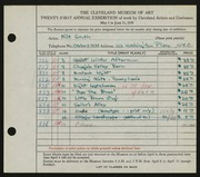 Entry card for Groth, Milt for the 1939 May Show.