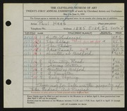 Entry card for Haas, Paul Thomas for the 1939 May Show.