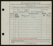 Entry card for Haber, Alice G. for the 1939 May Show.