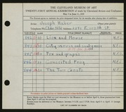 Entry card for Haber, Joseph for the 1939 May Show.
