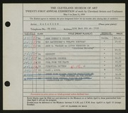 Entry card for Hakanson, R. C. for the 1939 May Show.