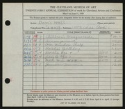 Entry card for Hall, Doris Elizabeth for the 1939 May Show.