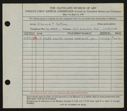 Entry card for Hartman, Eleanor P. for the 1939 May Show.