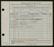 Entry card for Hazeltine, Dorothy R. for the 1939 May Show.