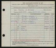 Entry card for Hetman, Harry H. for the 1939 May Show.