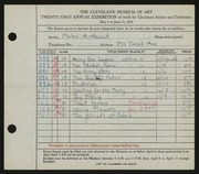 Entry card for Hewit, Mabel A. for the 1939 May Show.