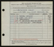 Entry card for Hine, Wadsworth Clark for the 1939 May Show.