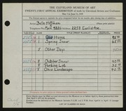 Entry card for Hoffman, Belle Mildred for the 1939 May Show.