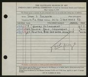 Entry card for Iglauer, Jane S. for the 1939 May Show.