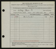 Entry card for Jansic, Anthony, Jr. for the 1939 May Show.