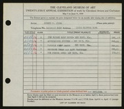 Entry card for Jicha, Joseph W. for the 1939 May Show.