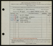 Entry card for Kastriner, Charles L. for the 1939 May Show.
