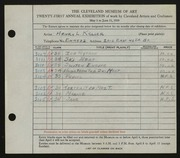 Entry card for Keller, Henry L. for the 1939 May Show.