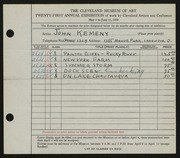 Entry card for Kemeny, John for the 1939 May Show.