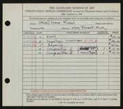 Entry card for Kissel, Irene  for the 1939 May Show.