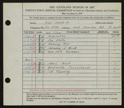 Entry card for Kozak, Paul, Jr. for the 1939 May Show.