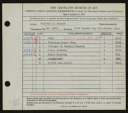 Entry card for Krusoe, William A. for the 1939 May Show.