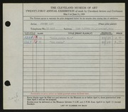 Entry card for Land, Jerome for the 1939 May Show.